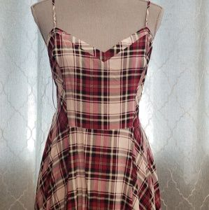 Tartan Spaghetti Strap Skater Dress